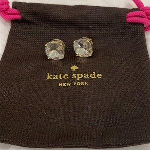 Kate Spade costume crystal earrings with gold back